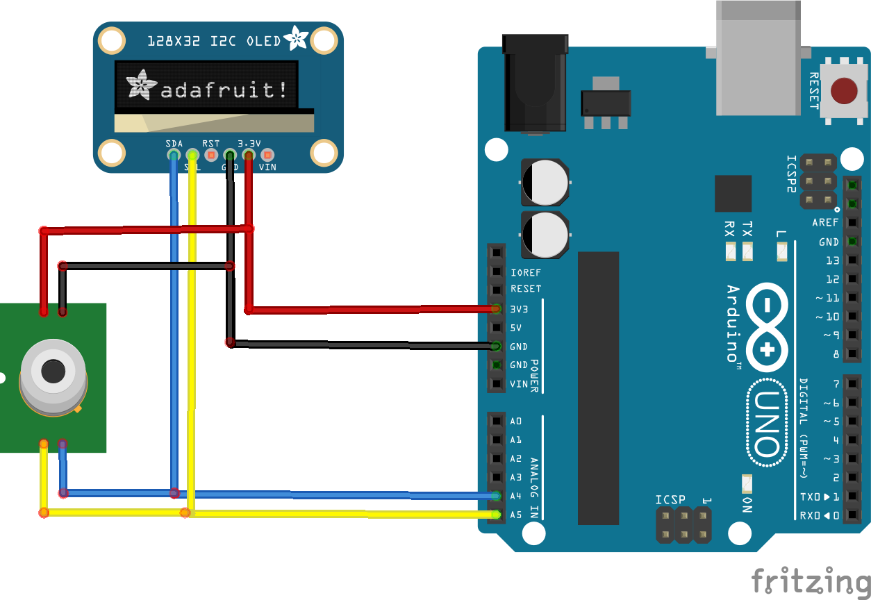 MLX90614 and OLED display example #arduino | Circuit Diagrams ...