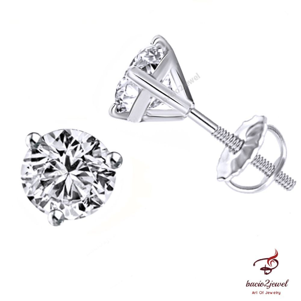 whitegold perfect in pin diamond prong summer earrings carat stud