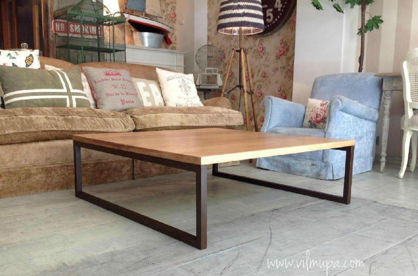 Mesa baja centro roble natural fierro mesas centro - Muebles madera natural ...