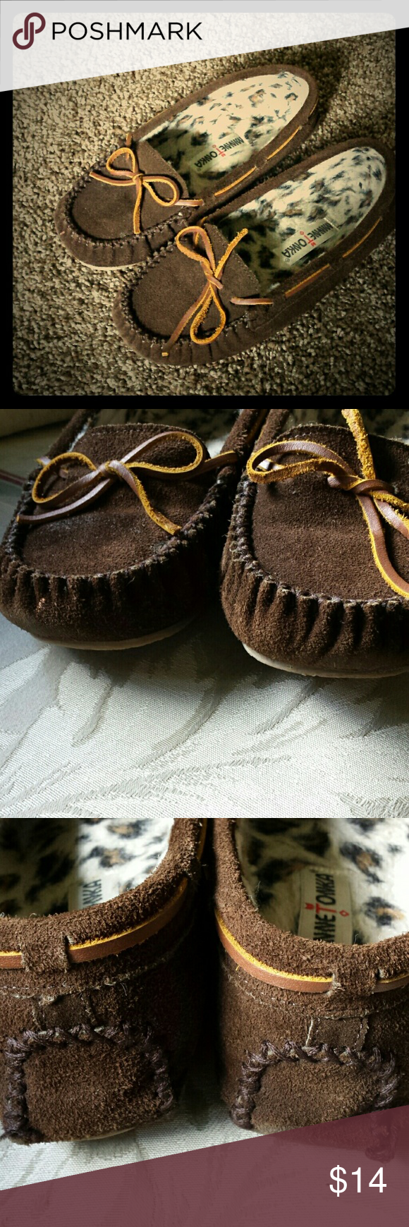 Minnetonka Suede Moccasins Real suede and faux fur inner lining. Keeps your feet cozy and warm. A few signs of wear as shown in pictures but not noticeable. Lightly cushioned sole and and soft materials make these like wearing slippers. Minnetonka Shoes Flats & Loafers