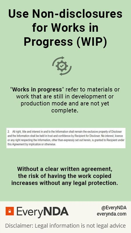 Use a NDA agreement to protect your work in progress (\ - sample service agreements