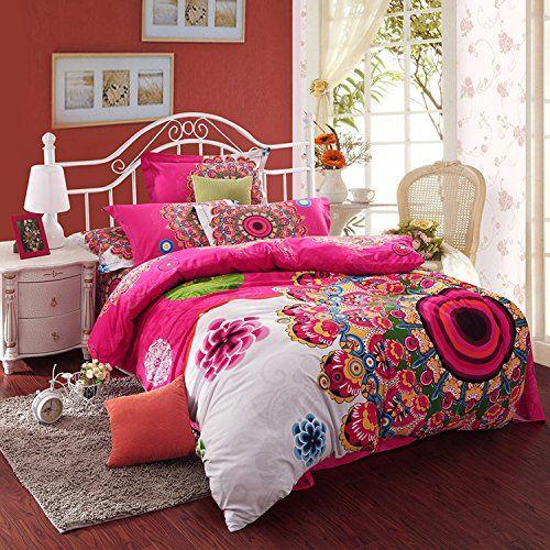 Cliab Bohemian Bedding Purple Boho Bedding 100% Brushed Cotton Duvet Cover Set Cliab Duvet Cover Sets