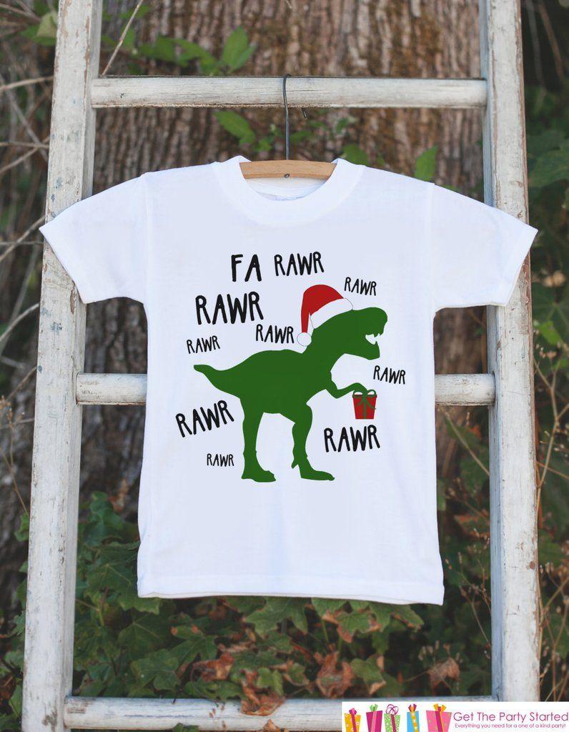 Dinosaur Christmas Outfit - Boys Christmas Shirt - T.Rex Christmas ...