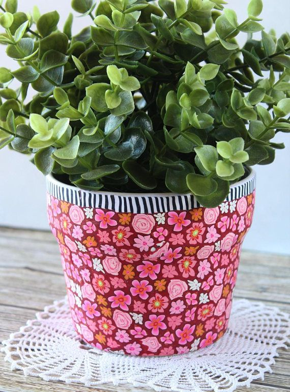 Red Planter Plant Container Indoor Pot Holder Decorative