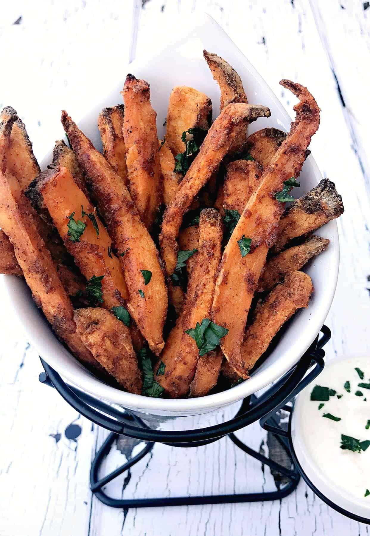 Easy Air Fryer Crispy Crunchy Sweet Potato Fries Recipe