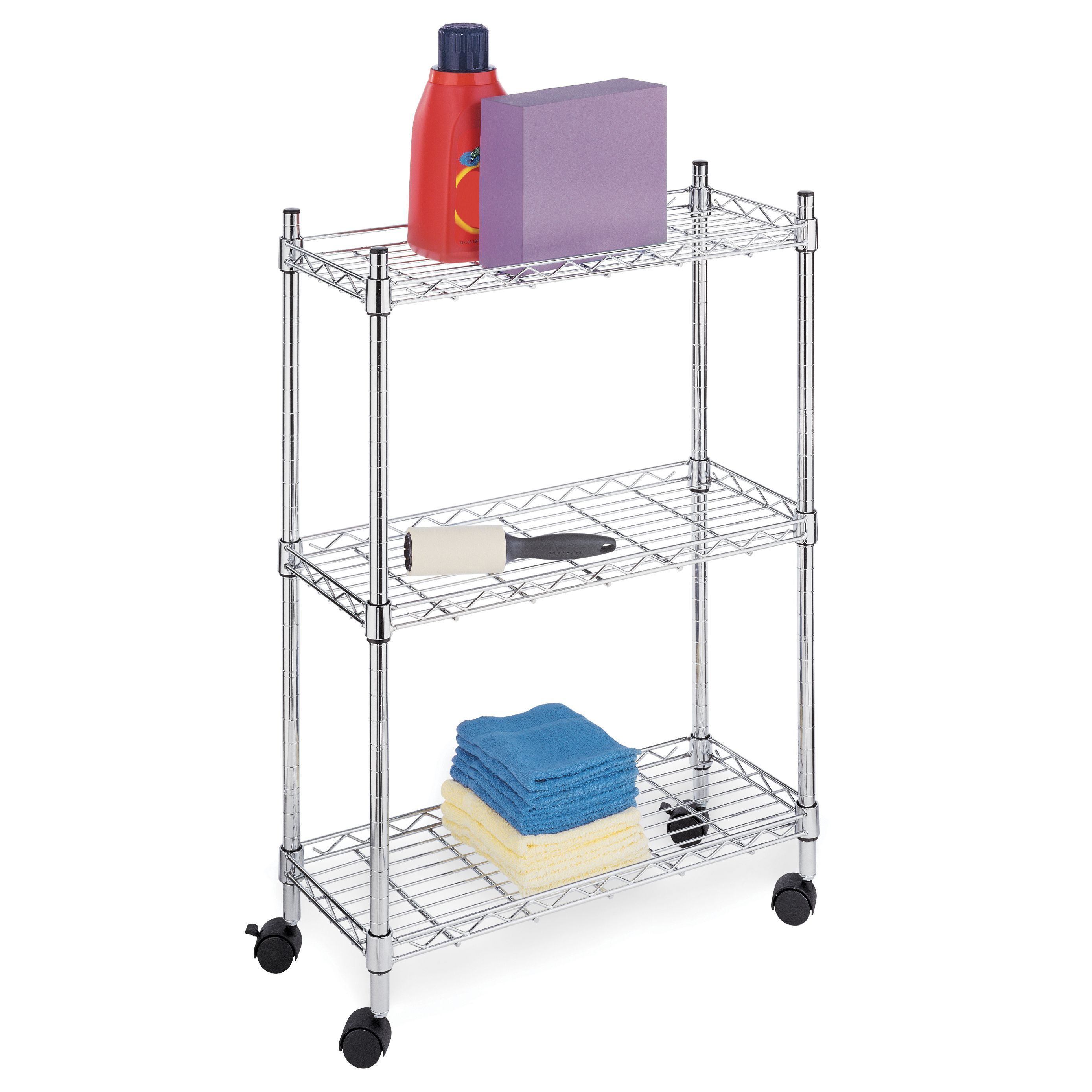 Whitmor Supreme 3 Tier Laundry Cart Silver Metal Laundry Cart