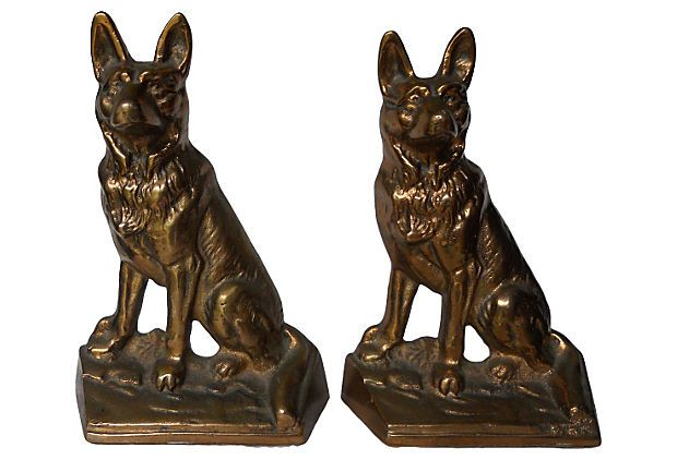 Bronze German Shepherd  Bookends on OneKingsLane.com