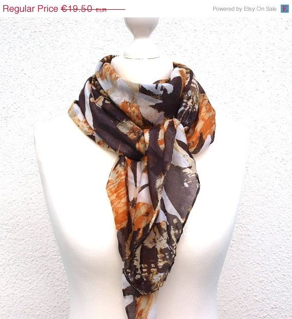 Brown and Orange Square Scarf, Large Cotton Square Scarf, Versatile Colors