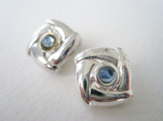 Vintage Preppy Traditional Silver Square Aquamarine Earrings by ThePaisleyUnicorn, $2.00