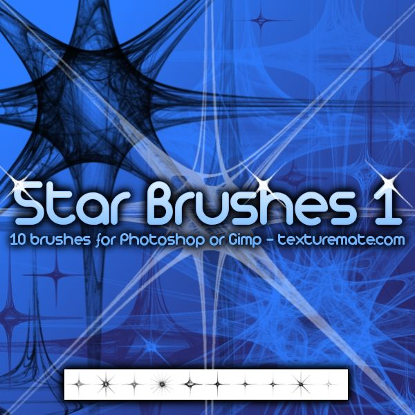 Star 1 Brush Pack for Photoshop or Gimp   texturemate.com ...