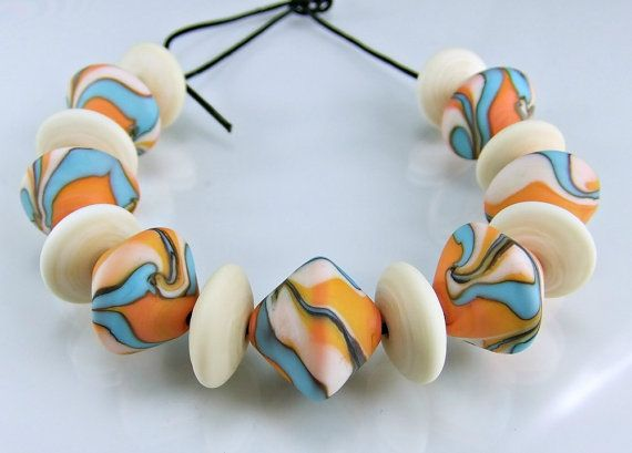 Etched Coral Ivory Turquoise Lampwork Bead Set by skyvalleybeads, $33.50