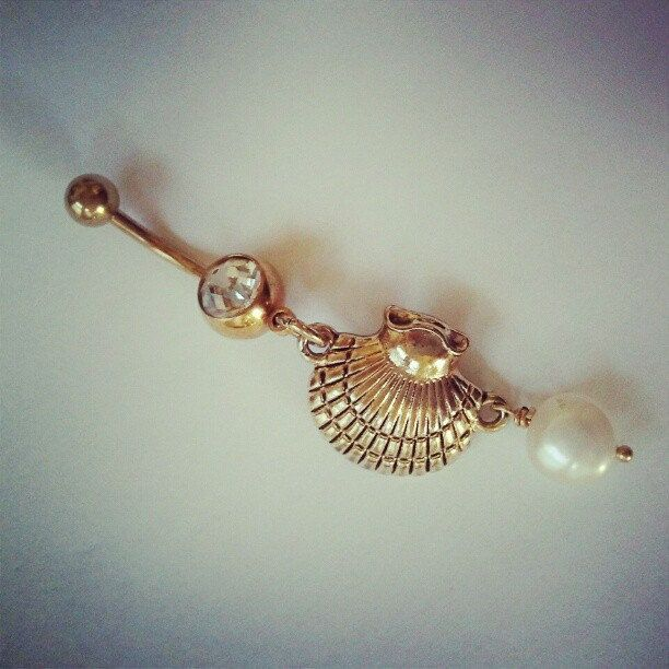 Belly Button Jewelry Ring Pearl and Oyster Clam by Azeetadesigns