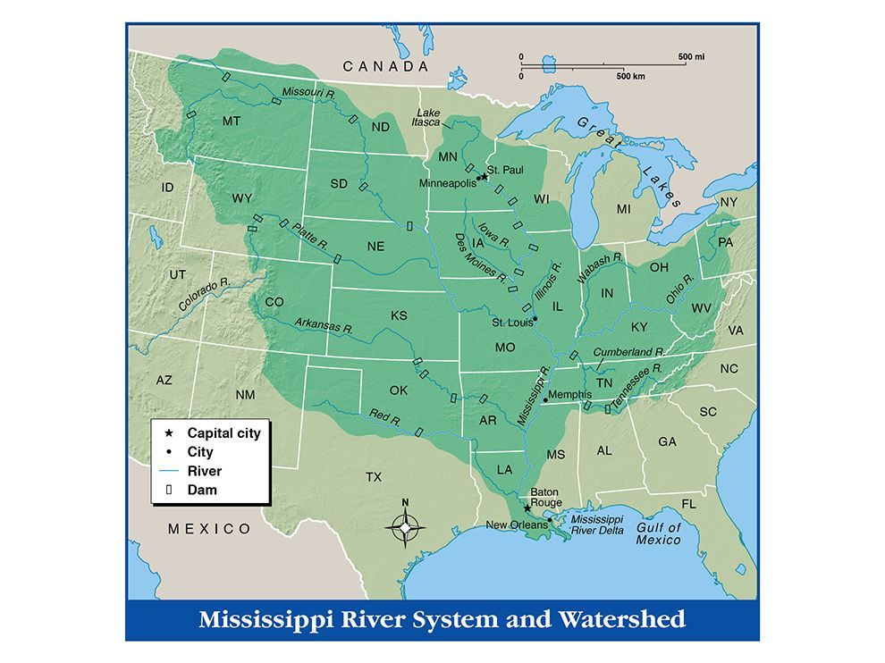 Students Trace The Mississippi River And Its Major Tributaries On - Us watershed map