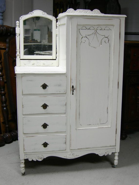 Superbe Shabby Antique Dresser Armoire Bedroom In A Box Painted French White. I  Have A Chifferobe Similar.