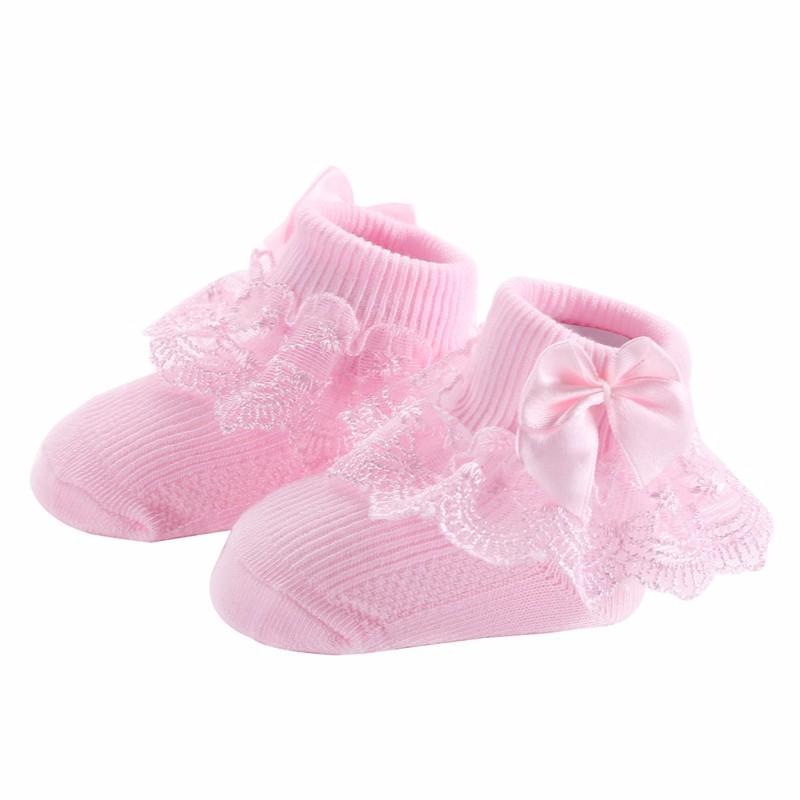Baby Kids Girl Socks Princess Lace Bow Ruffle Socks Toddler Cotton Ankle Socks