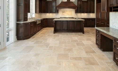 French Pattern Filled & Honed Noce Travertine - exceptional for open and  large living & kitchen