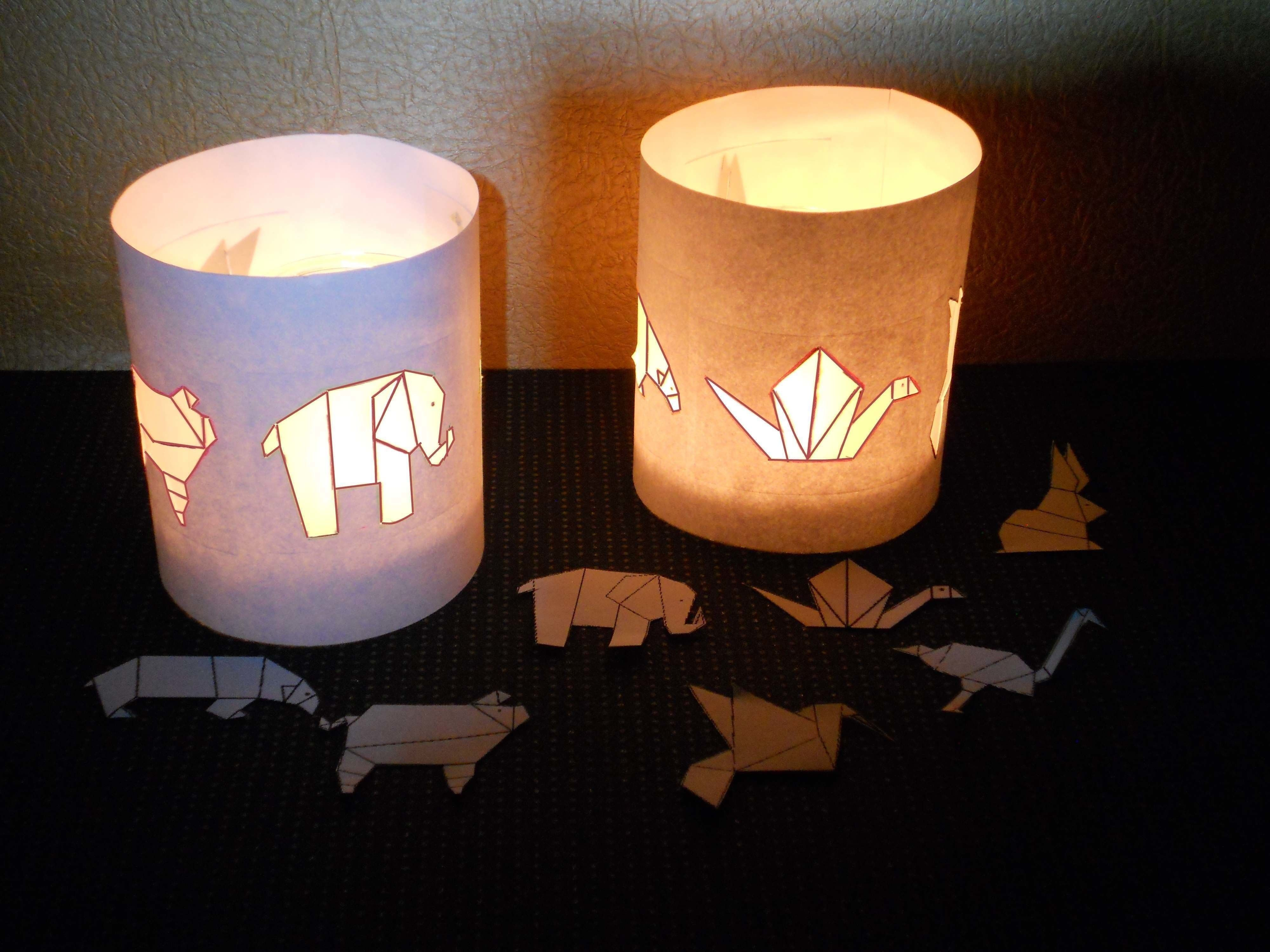 Origami Themed Tea Lights  •  Free tutorial with pictures on how to make a decorative light in under 20 minutes