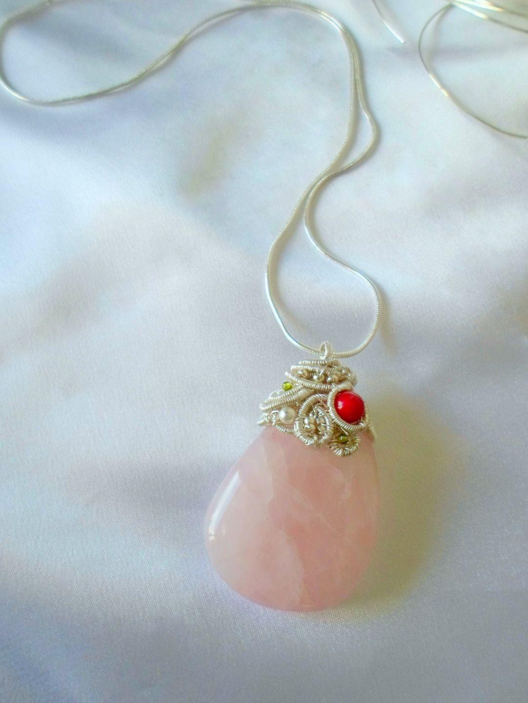 pendentif quartz rose et argent 925 : Pendentif par au-fil-de-llor