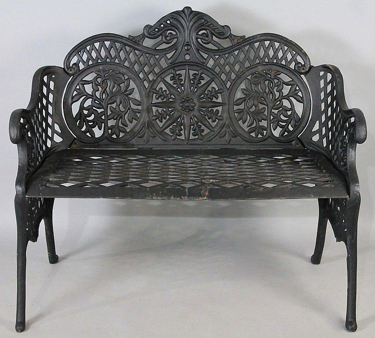 Black Painted Wrought Iron Garden Bench By Potomack