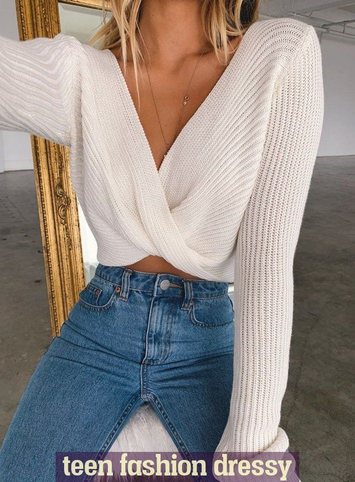 Outfit Ideas - Twisted Front Knit Long Sleeve Sweater