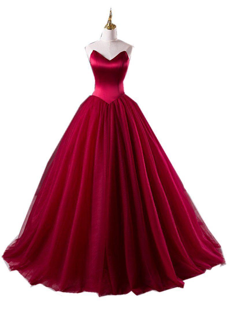 Burgundy prom dressball gowns prom dresssweetheart prom dress