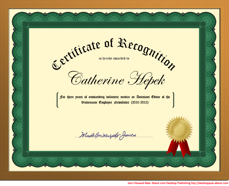 Create A Certificate Of Recognition In Microsoft Word (u0026 That Gold Seal  Too) Http  Ms Publisher Certificate Templates