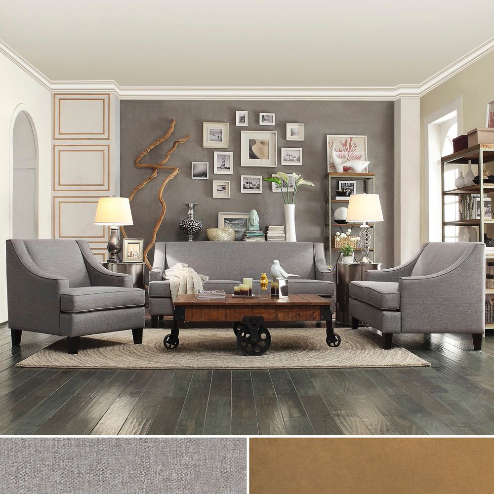 The sleek modern styling and neutral color of this taupe living room set  make it an