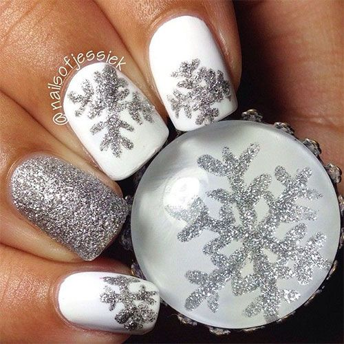 Christmas Acrylic Nails Grey: 20-Christmas-Snowflake-Acrylic-Nail-Art-Designs-Ideas