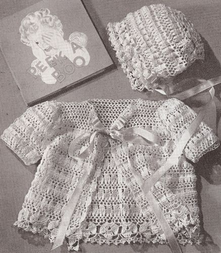 Vintage Thread Crochet Baby Sacque and Bonnet PATTERN .... Instant ...