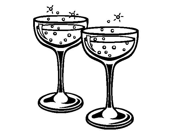 Champagne Glasses Coloring Page Champagne Glasses Coloring