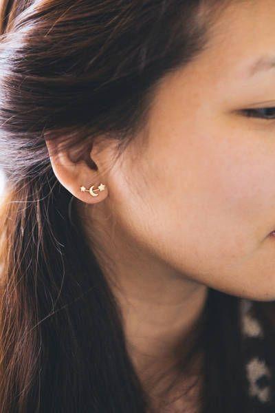 17e8eff35 Moon and Stars Earrings 3 colors | Ear Jackets | Moon, star earrings ...