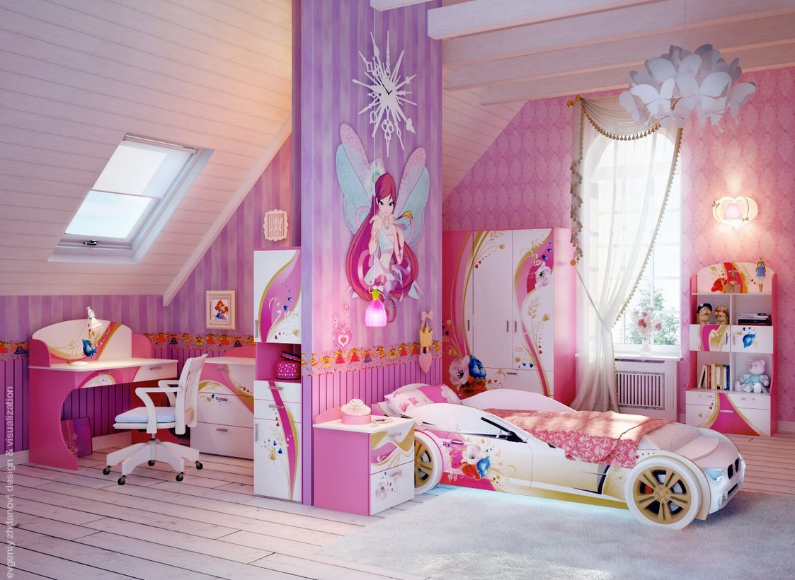 Adorable Girls Bedroom Designs With Pink Color Shade and Fantastic ...