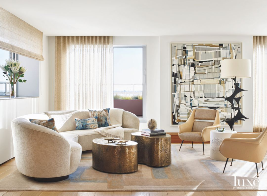 In the formal living room, designer Laurie Pearson paired a custom ...