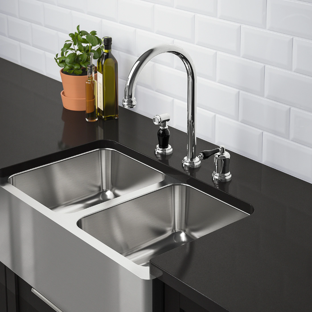 BREDSJÖN Apron front double bowl sink, underglued