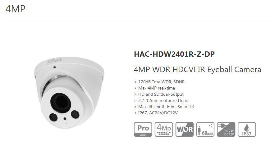 Free Shipping DAHUA Security Camera CCTV 4MP WDR HDCVI IR
