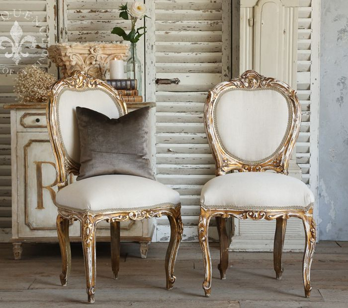 Pair of Vintage Gilt Side Chairs