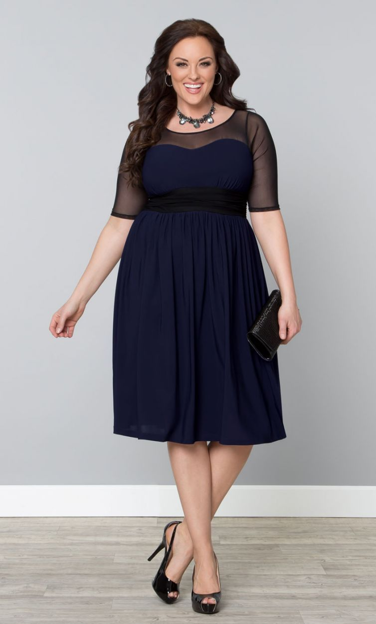 Twirl and swirl cocktail dress navyblack womens plus size from