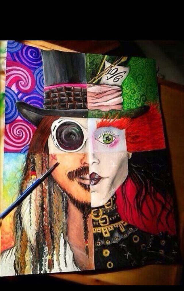 The Many Faces Of Johnny Depp Obsessed Drawings Painting Cool Paintings