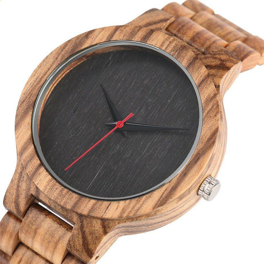 6861b022eb0 New Arrival Jednoduché ruční plné dřevěné hodinky Quartz Pánské hnědé    černé Dial náramek náramky Přírodní minimalismus Hodinky Dárky Muž