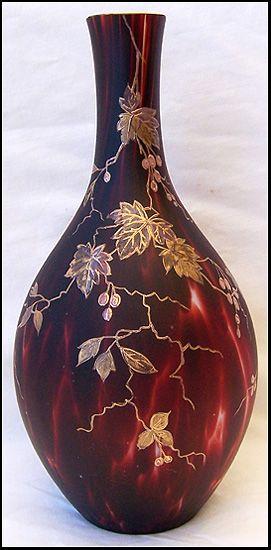 Rare Harrach Bohemian Glass Vase Hand Painted Beautiful Victorian