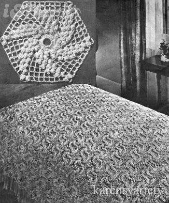 Popcorn Pinwheel Bedspread Vintage Crochet Pattern for sale ...
