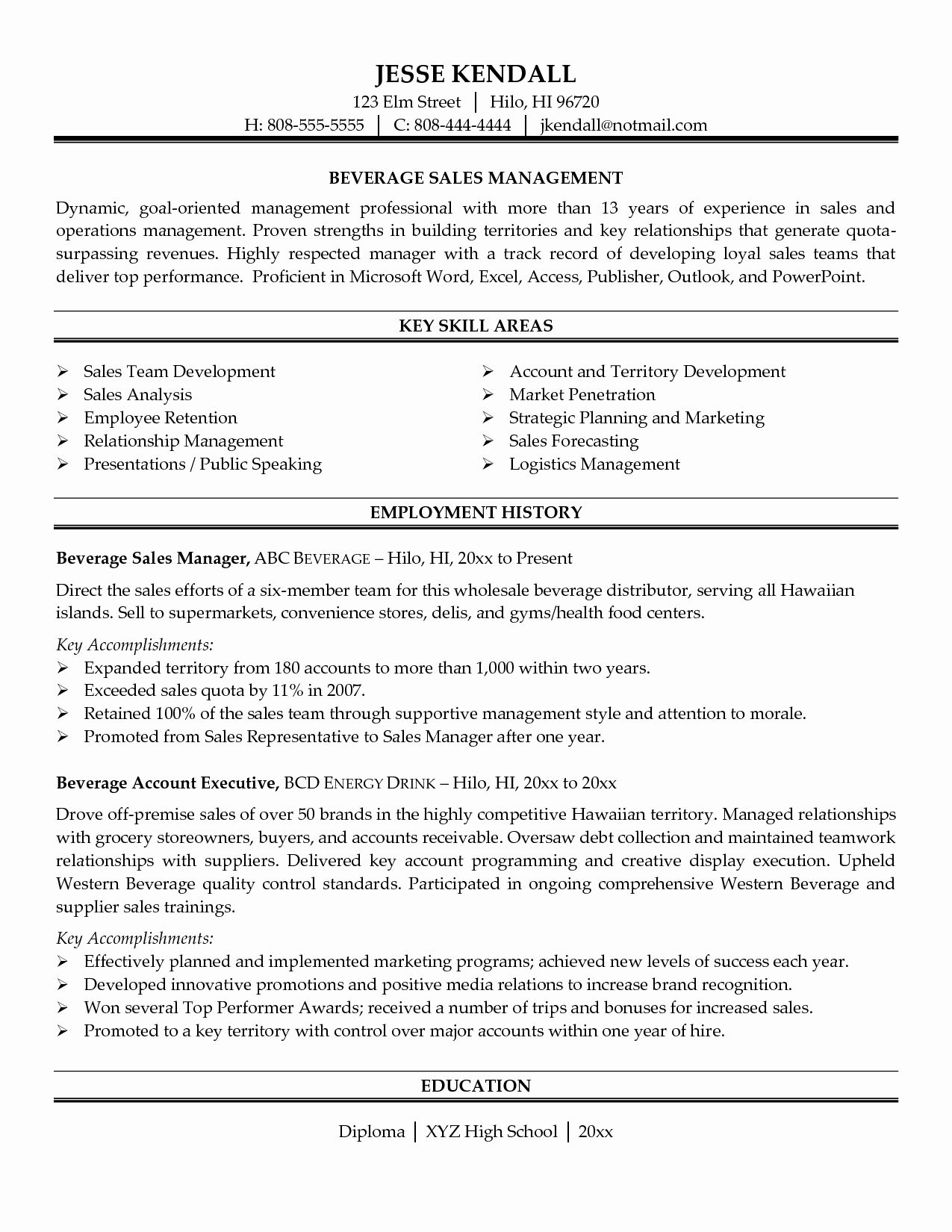 Best Of Territory Sales Manager Resume Sample Sales Manager Sample Resume Sales Resume Sales Resume Examples