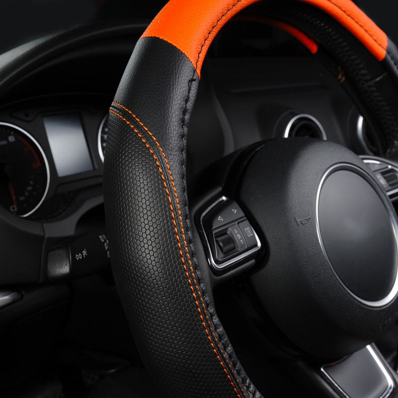 Steering Wheel Cover,Leather Steering Wheel Cover,Environmental Protection Non-Slip Leather Super Breathable and Durable 38cm Steering Wheels & Accessories Elegant Grey
