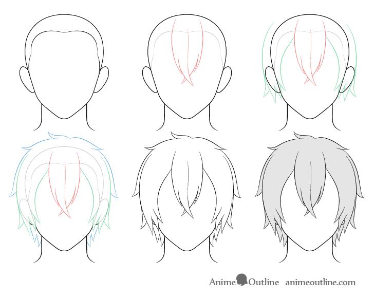 How To Draw Anime Male Hair Step By Step Animeoutline In 2020 Boy Hair Drawing Manga Hair Anime Drawings