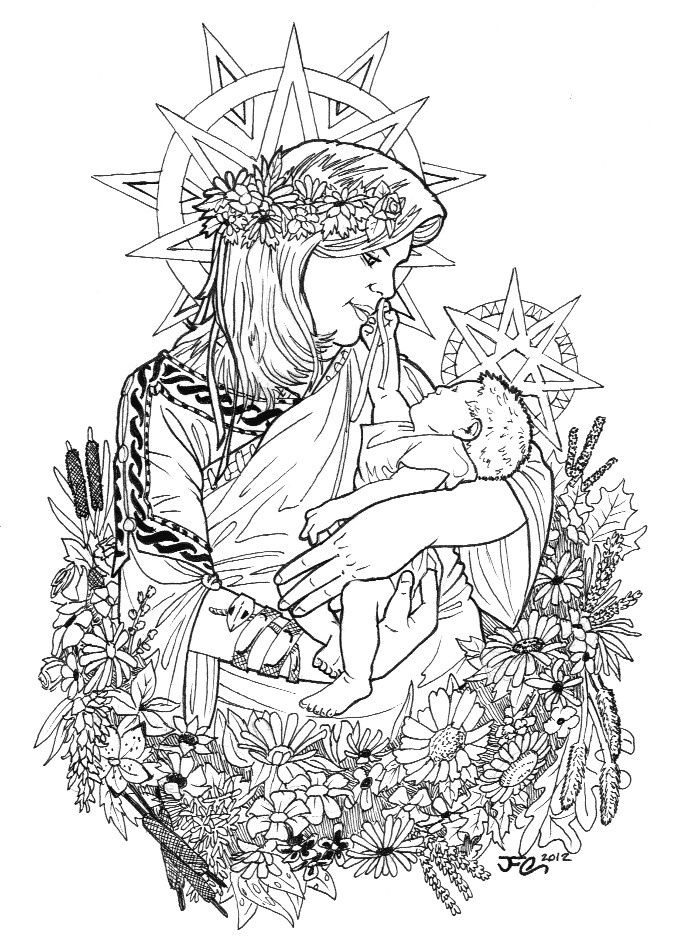 mother and child | Coloring pages, Adult coloring pages ...