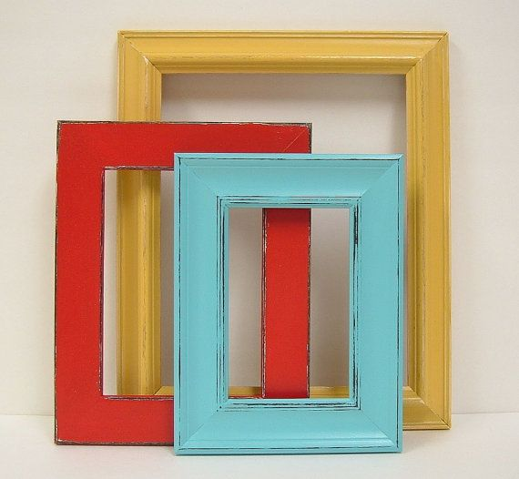 Shabby Chic Frames Picture Frame Set Red Yellow Turquoise Home Decor Gallery Turquoise Home Decor Kitchen Color Red Living Room Decor Colors