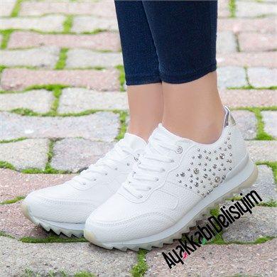Kami Beyaz Tasli Spor Ayakkabi White Sneakers Ayakkabilar Kiz Ayakkabilari Sneaker