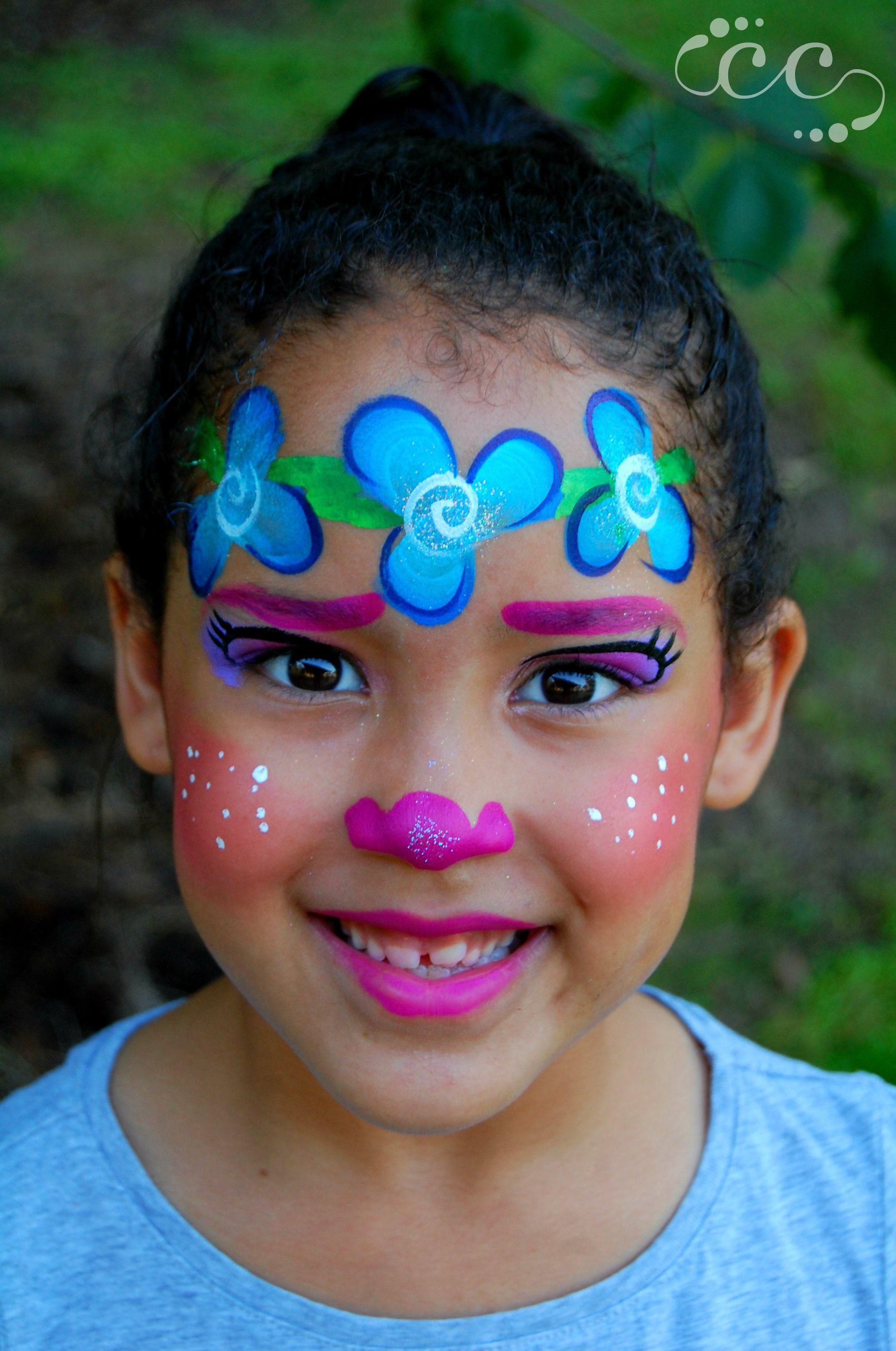 Pink Poppy Troll face paint, painted by Ashlie Alvey of Chubby Cheeks Body Art in Savannah, Georgia #poppy #troll #facepaint #savannah #georgia #artist #facepainter #chubbycheeksart #dollfacepainting
