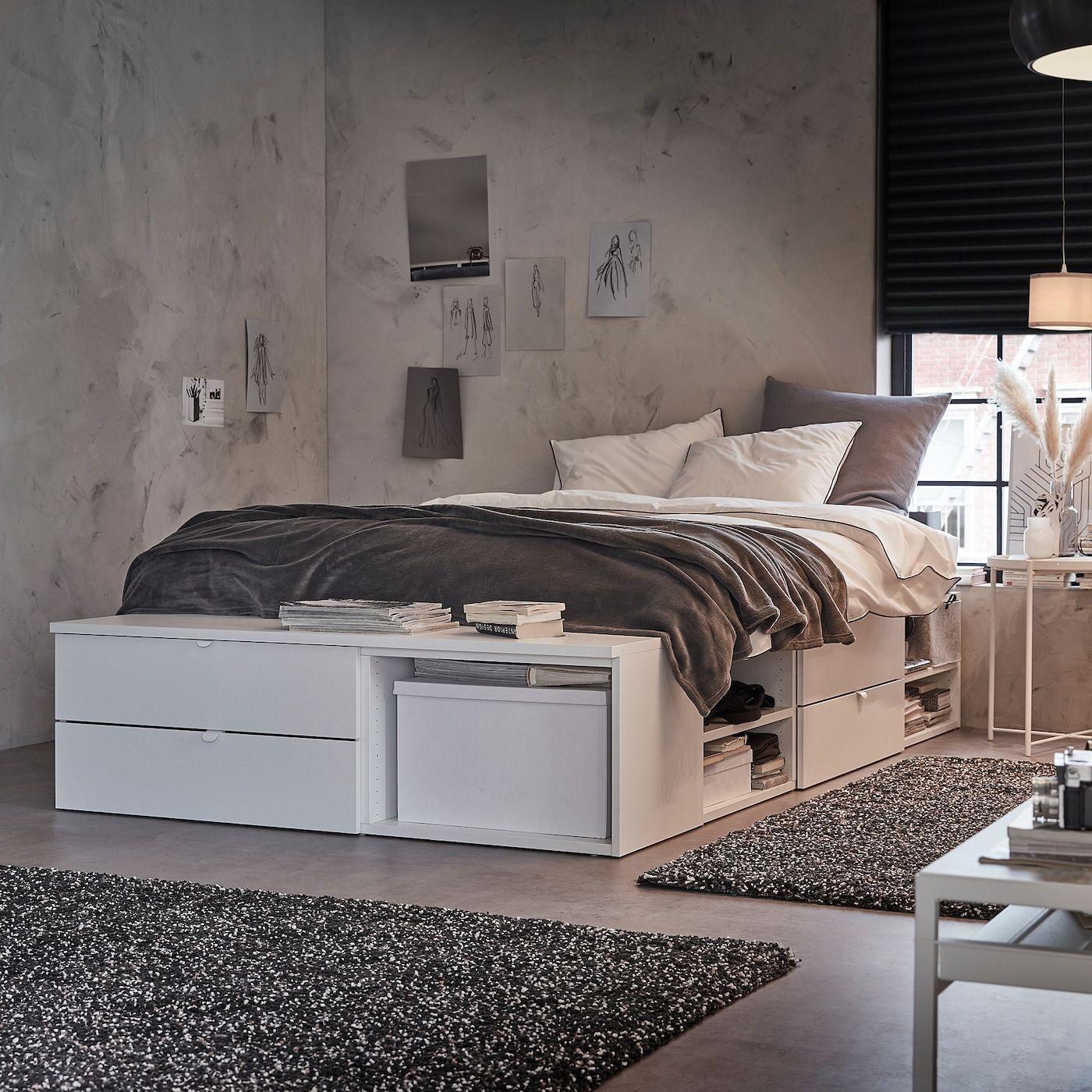 Platsa Bettgestell Mit 4 Schubladen Weiss Fonnes Ikea