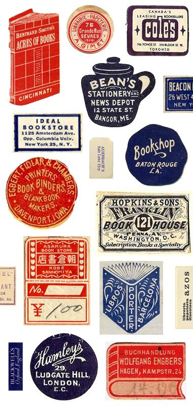 vintage labels in red, white, and blue